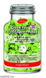 586003 Purederm Маска коллагеновая с экстрактом зеленого чая 1 шт