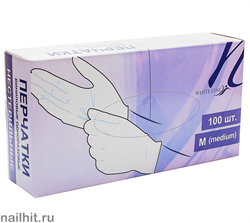 4221 White Line Виниловые перчатки в коробке (Размер M) 100 шт/уп