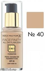 MF Тональная основа 3 в 1 Facefinity All Day Flawless 3-in-1, тон №40 (Light Ivory) 30мл