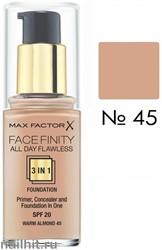 MF Тональная основа 3 в 1 Facefinity All Day Flawless 3-in-1, тон №45 (Warm Almond) 30мл