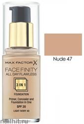 MF Тональная основа 3 в 1 Facefinity All Day Flawless 3-in-1, тон №47 (Nude) 30мл