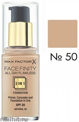 MF Тональная основа 3 в 1 Facefinity All Day Flawless 3-in-1, тон №50 (Natural) 30мл