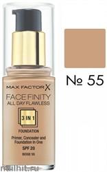 MF Тональная основа 3 в 1 Facefinity All Day Flawless 3-in-1, тон №55 (Beige) 30мл