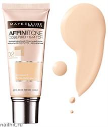 Maybelline Тональный крем Affinitone Совершенный Тон с HD пигментами, тон 02 Слоновая кость