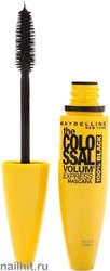 Maybelline Тушь для ресниц Colossal 100% Black Volume Express, черная