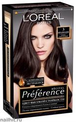 Стойкая краска для волос L'Oreal Paris Preference, тон 3 Бразилия Темный каштан