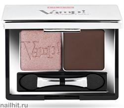 0087 002 Pupa ТЕНИ для век двойные компактные VAMP! тон 02 Розово-коричневый перлам + матовый коричневый