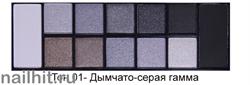 01037 Triumf Набор теней 12цветов Color Palette Eyeshadow 01 Дымчато-серая гамма