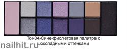 01068 Triumf Набор теней 12цветов Color Palette Eyeshadow 04 Сине-фиолетовая палитра с шоколадными оттенками