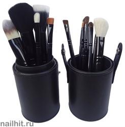 Яркие кисти для макияжа в тубусе 12шт (Разные цвета)