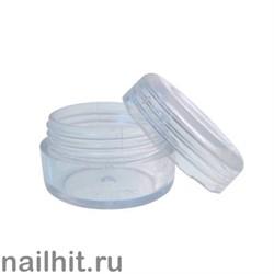 Баночка для дизайна, круглая, прозрачная с крышкой
