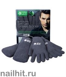 SpaBelle НАБОР для МУЖЧИН Увлажняющие SPA носки и SPA перчатки с гелевой пропиткой (серые) хлопок с экстрактом мяты