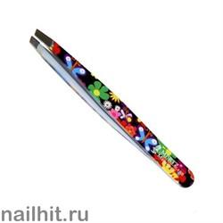234 Mertz Пинцет 188-чёрный цветы+ бабочки 9,5см