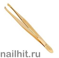 231 Mertz Пинцет 212 G золото (скошенный) 8см