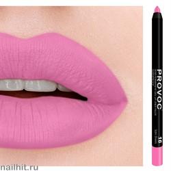 """№ 16 Provoc Satin Sheets Гелевый карандаш для губ (матовый, светло- розовая фуксия, цвет """"барби"""")"""