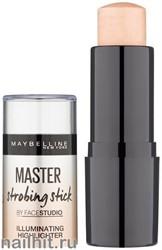 Maybelline Хайлайтер-Сияние MASTER Strobing stick тон 100 Light