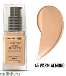 "Max Factor Тональная основа ""Healthy Skin Harmony Miracle Foundation""  тон 45 warm almond"
