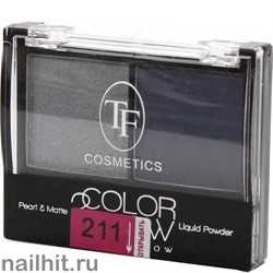 05560 Триумф TF Тени для век двойные Color Show 211 темное серебро+ фиалковый