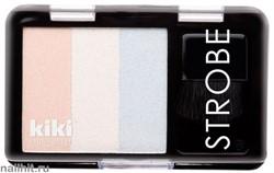 80017 KiKi Хайлайтер для лица Strobe, тон 801 бежево-сливочный, жемчужно-белый, голубой