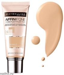 Maybelline Тональный крем Affinitone Совершенный Тон с HD пигментами, тон 24 Золотисто-бежевый