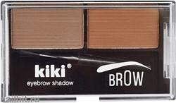 10021 KiKi Тени двойные для бровей, тон 02 коричневый+ золотистый коричневый