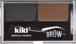 10038 KiKi Тени двойные для бровей, тон 03 графитовый+ темно- коричневый