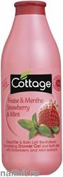 055178 Cottage Гель для душа+ Пена для ванн Восстанавливающий 750мл Клубника+ Мята