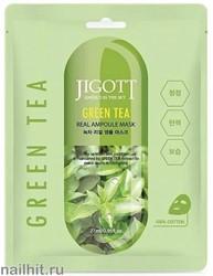 15629 Jigott Маска тканевая 0177 ампульная с зеленым чаем 27мл Green Tea Real Ampoule Mask