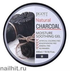 15616 Jigott Гель 0757 Увлажняющий успокаивающий гель с древесным углем для лица и тела 300мл Natural Charcoal Moisture Soothing Gel