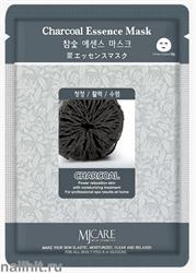 11448 Mijin Маска тканевая для лица с древесным углем 23гр очищающая и успокаивающая