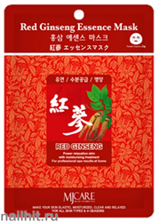 11455 Mijin Маска тканевая для лица с экстрактом красного женьшеня 23гр восстанавливающая