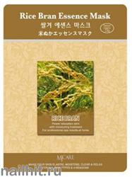 11467 Mijin Маска тканевая для лица с экстрактом рисовых отрубей 23гр осветляющая и смягчающая
