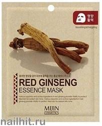 11435 Mijin Маска тканевая для лица с экстрактом красного женьшеня 25гр защита от обезвоживания