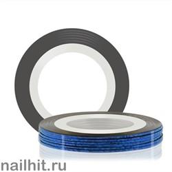 2521 RuNail Самоклеющаяся лента для дизайна ногтей Синяя, голография 20метров, ширина 0,1см