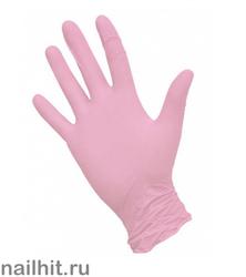 Перчатки Нитриловые Неопудренные Розовые 100шт (Размер S)