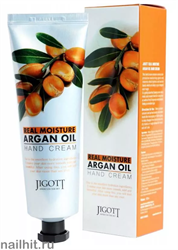 10419 Jigott Крем для рук 0343 с аргановым маслом 100мл Real Moisture Argan Oil Hand Cream